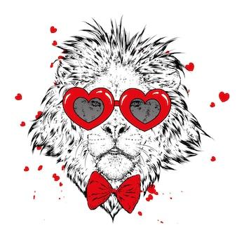 Leão e corações no dia dos namorados