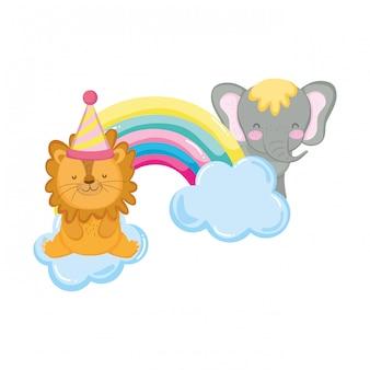 Leão e elefante com chapéu de festa e arco-íris rrr