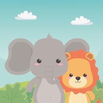 Leão e elefante dos desenhos animados