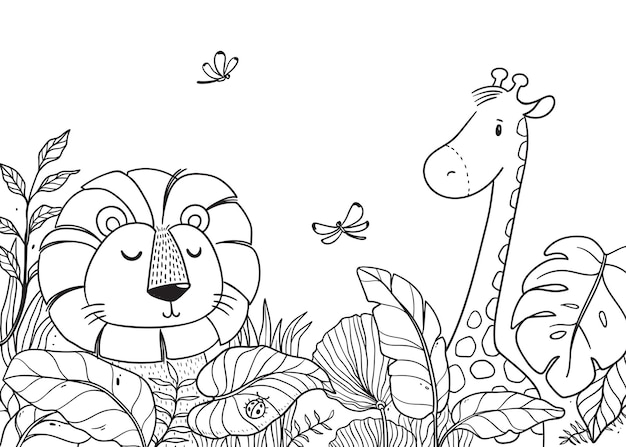 Leão e girafa desenhados à mão