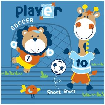 Leão e girafa jogando futebol engraçado animal dos desenhos animados, ilustração vetorial
