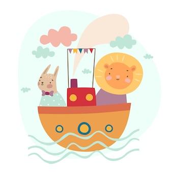Leão e lebre no navio