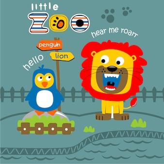 Leão e pinguim no zoológico