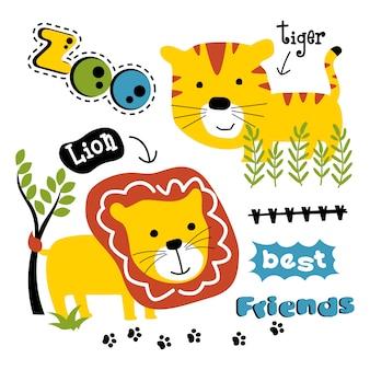 Leão e tigre engraçado dos desenhos animados de animais, ilustração vetorial