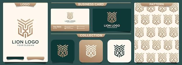 Leão elegante de luxo, ilustração da arte da linha do logotipo do leão