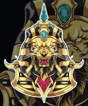 Leão em deus do design de personagens da mitologia egípcia.