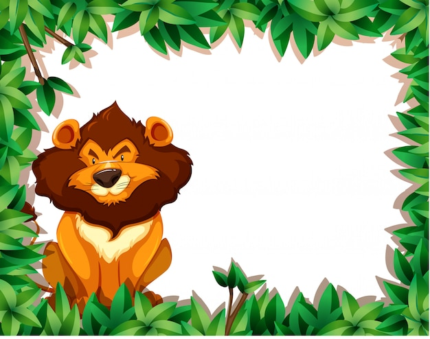 Leão em quadro de natureza