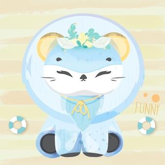Leão encantador do bebê do doodle na aguarela.