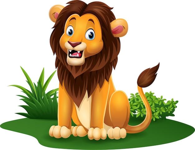 Leão engraçado de desenho animado sentado na grama