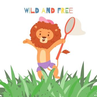 Leão engraçado dos desenhos animados e ilustração de inscrição selvagem e livre.