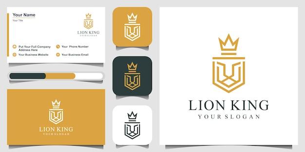Leão, escudo, coroa, design de logotipo com estilo de linha de arte e cartão de visita