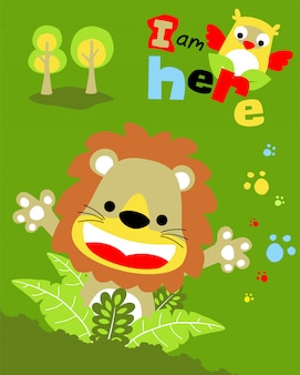Leão feliz dos desenhos animados com coruja