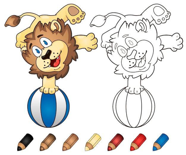 Leão feliz dos desenhos animados do livro para colorir que joga com uma bola de praia.