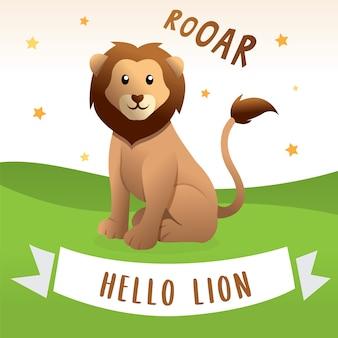 Leão feliz dos desenhos animados, ilustração do vetor de desenhos animados do leão. ilustração de leão bonito e engraçado