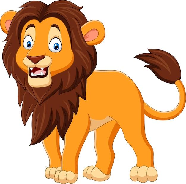 Leão feliz dos desenhos animados isolado no branco