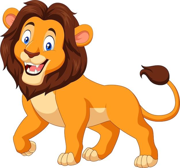 Leão feliz dos desenhos animados, isolado no fundo branco