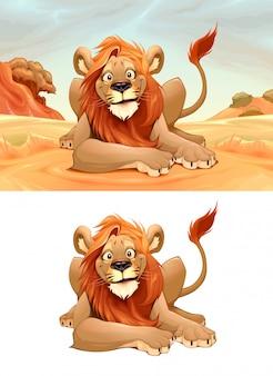 Leão feliz na savana e personagem isolada