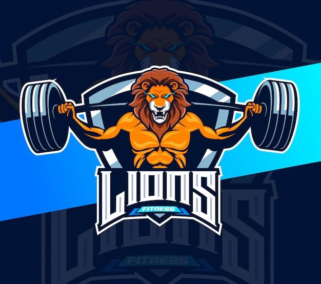 Leão fitness fisiculturista mascote logotipo design