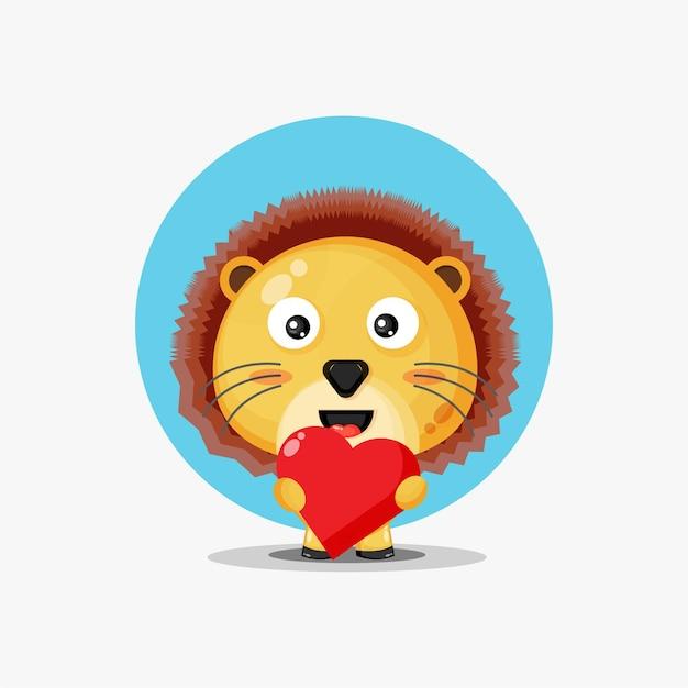 Leão fofo abraçando o coração