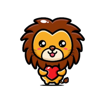Leão fofo abraçando um coração de amor