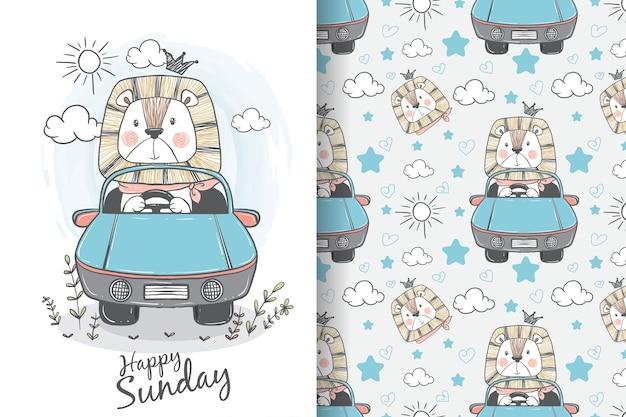 Leão fofo andando no carro com ilustrações e padrões desenhados à mão