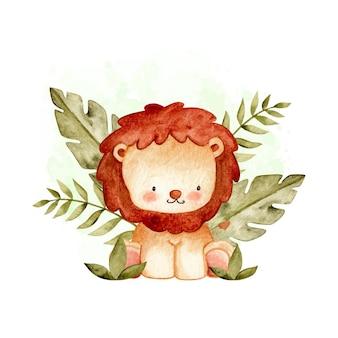 Leão fofo aquarela