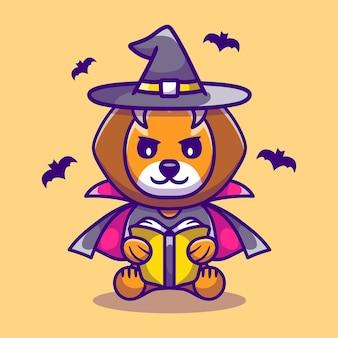 Leão fofo bruxa de halloween lendo um livro