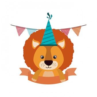 Leão fofo com chapéu de festa