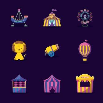 Leão fofo com circo de conjunto de ícones