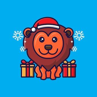 Leão fofo com design de natal