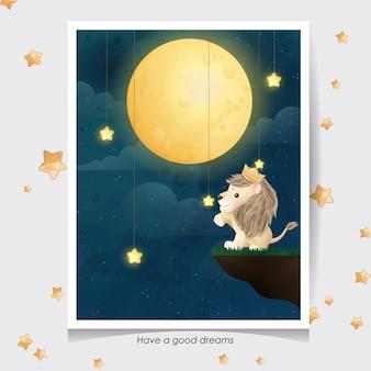 Leão fofo com ilustração em aquarela