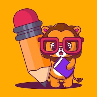 Leão fofo com ilustração em vetor desenho ícone de lápis