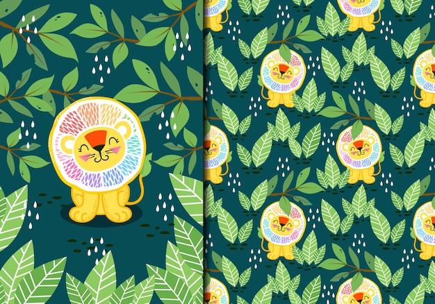 Leão fofo com limão arco-íris