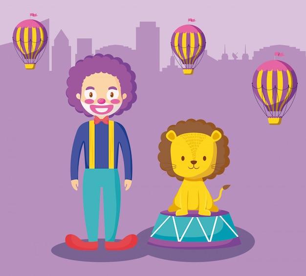 Leão fofo com palhaço e balões ar quente