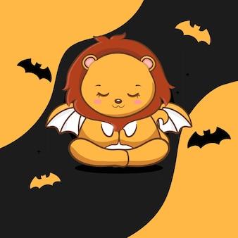 Leão fofo com vetor grátis de halloween