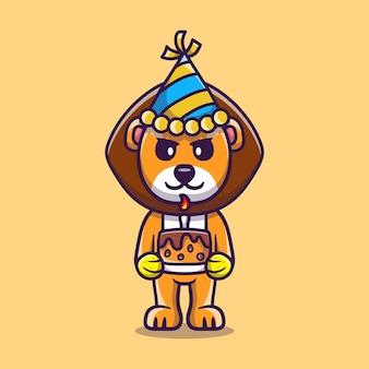 Leão fofo comemorando feliz ano novo ou aniversário