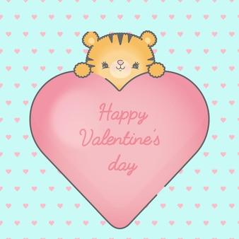 Leão fofo e moldura de coração com corações sem costura premium premium