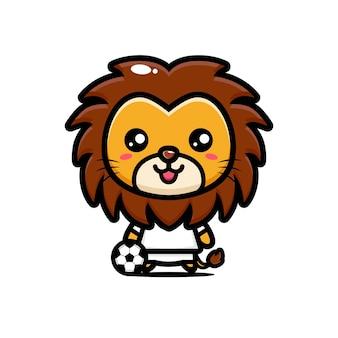 Leão fofo está pronto para jogar futebol