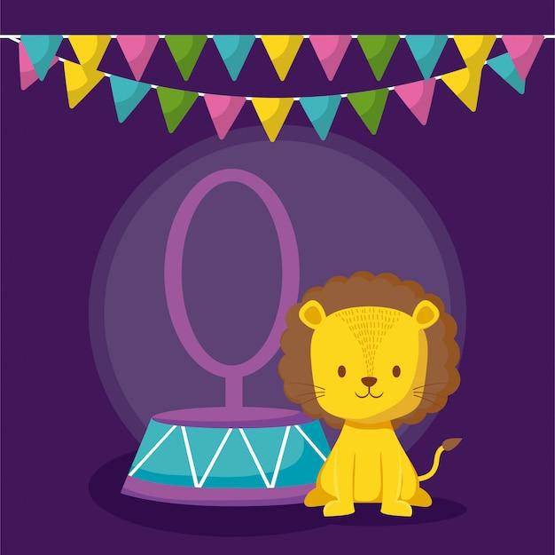 Leão fofo no anel com o ícone de guirlandas