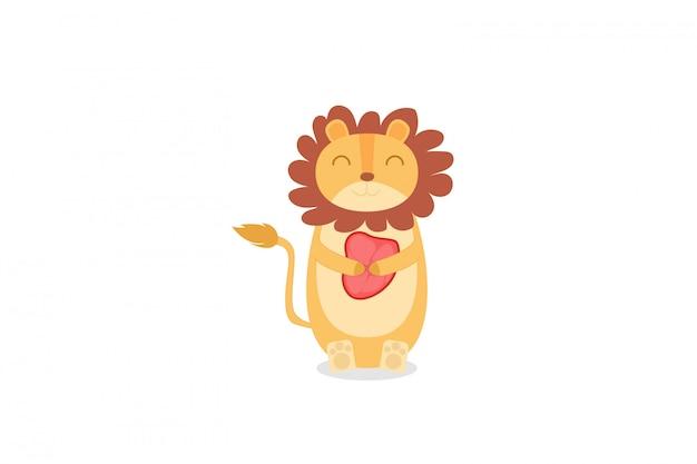 Leão fofo segurando a mão de carne desenhando