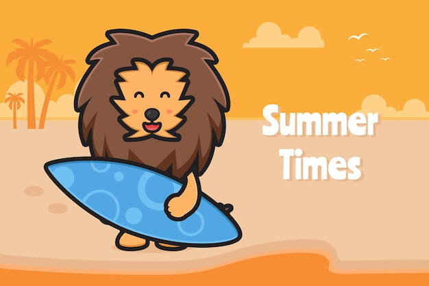 Leão fofo segurando a prancha de natação com uma ilustração do ícone dos desenhos animados de banner de saudação