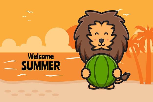Leão fofo segurando melancia com uma ilustração do ícone de desenho animado de banner de saudação de verão