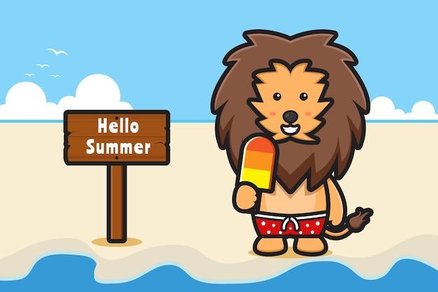 Leão fofo segurando sorvete com uma ilustração do ícone dos desenhos animados de banner de saudação de verão