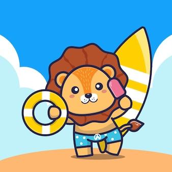 Leão fofo segurando um ringue de natação com sorvete e ilustração dos desenhos animados da prancha de surf