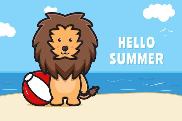 Leão fofo segurando uma bola com uma ilustração do ícone dos desenhos animados de banner de saudação de verão