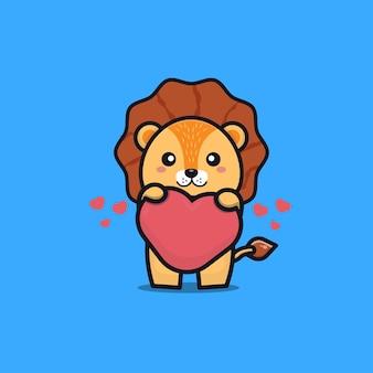 Leão fofo segurando uma ilustração do ícone de desenho animado