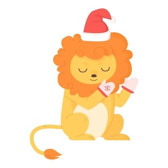 Leão fofo sentado com chapéu de natal e luvas quentes