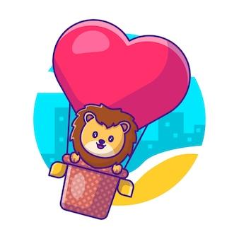 Leão fofo voando com balão de amor ilustração em vetor