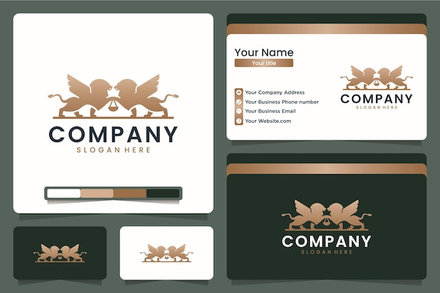 Leão gêmeo, escritório de advocacia, design de logotipo e cartão de visita