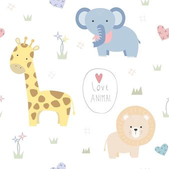 Leão girafa elefante bonito dos desenhos animados doodle padrão sem emenda